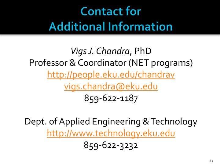 Contact for