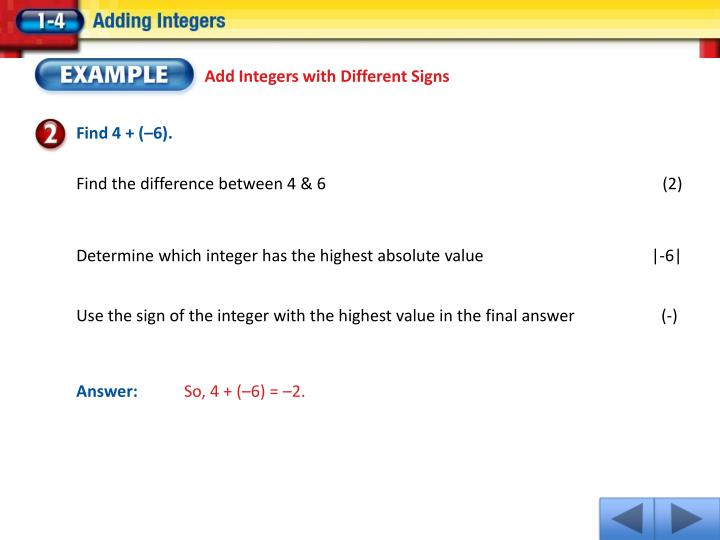 Add Integers with Different Signs