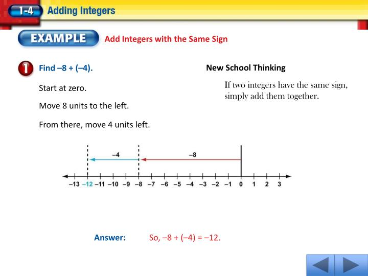 Add Integers with the Same Sign