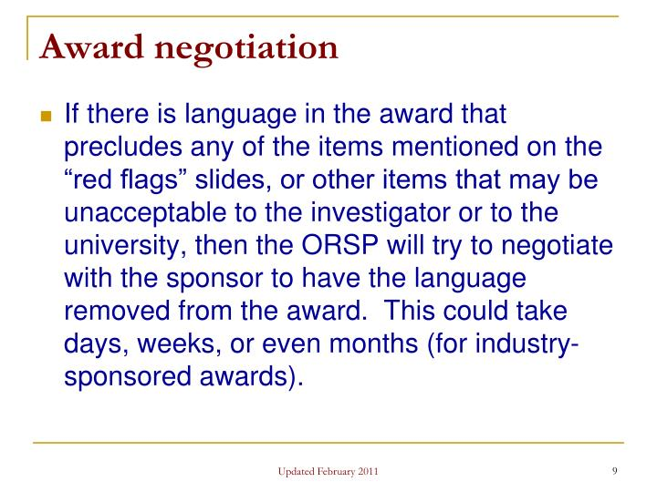 Award negotiation