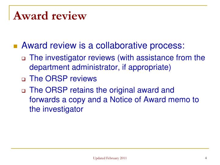 Award review