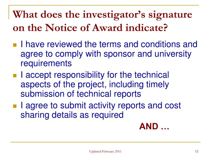 What does the investigator's signature on the Notice of Award indicate?