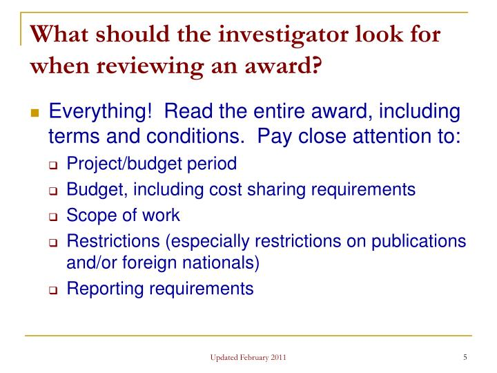What should the investigator look for when reviewing an award?