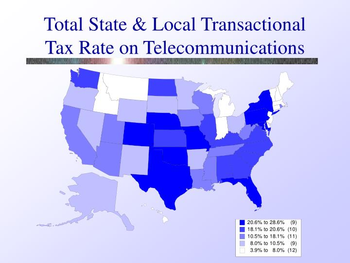 Total State & Local Transactional Tax Rate on Telecommunications