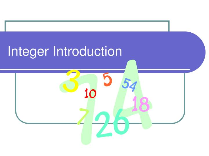 Integer introduction