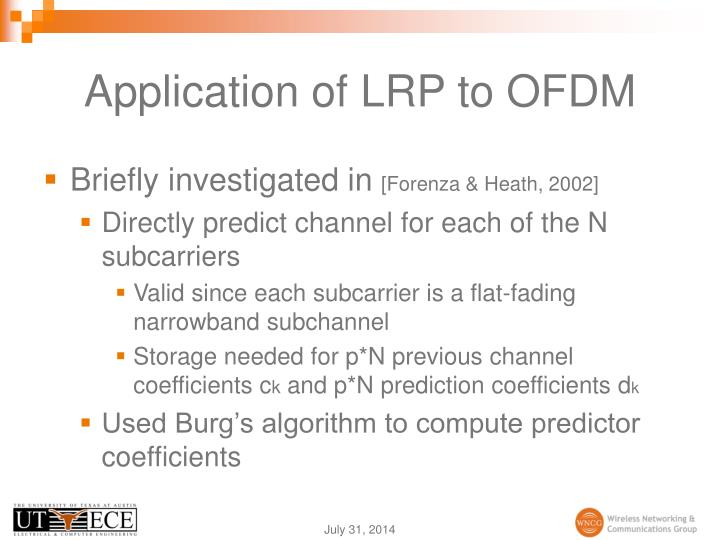 Application of LRP to OFDM