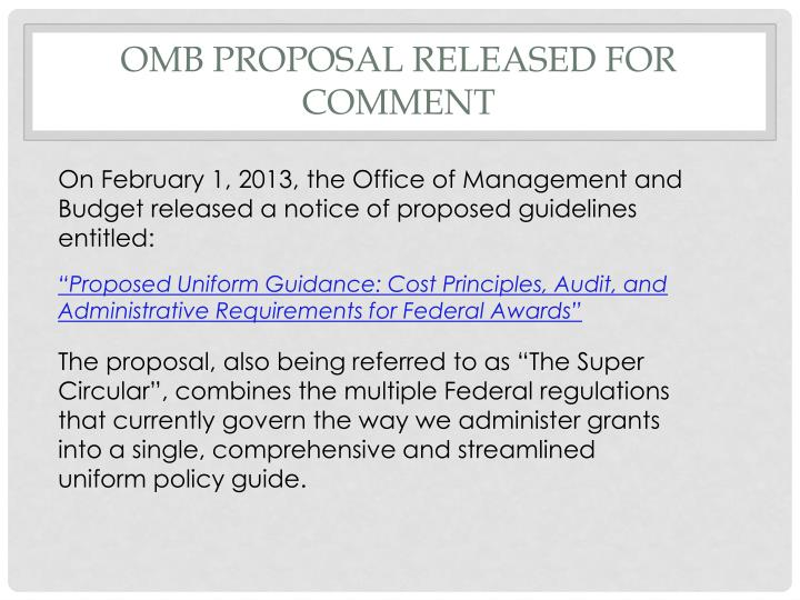 OMB Proposal Released for Comment