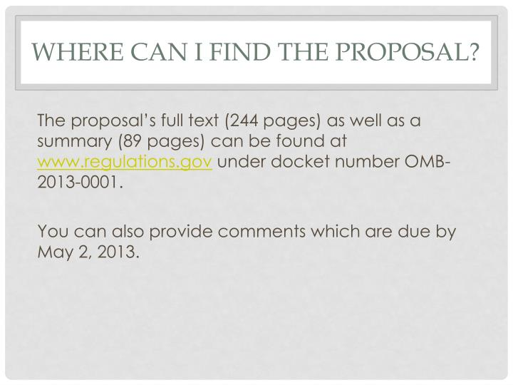 Where can I find the Proposal?