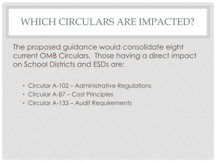 Which circulars are impacted