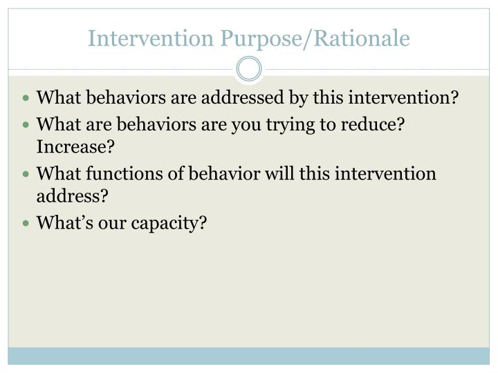 Intervention Purpose/Rationale