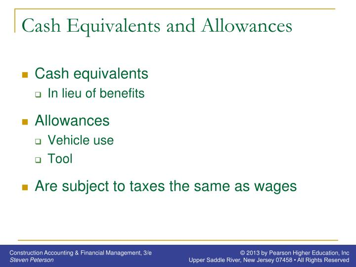 Cash Equivalents and Allowances
