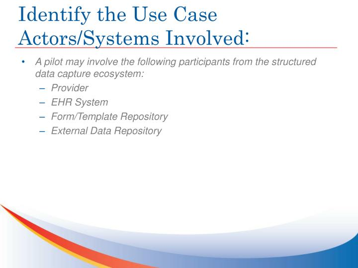 Identify the Use Case Actors/Systems Involved: