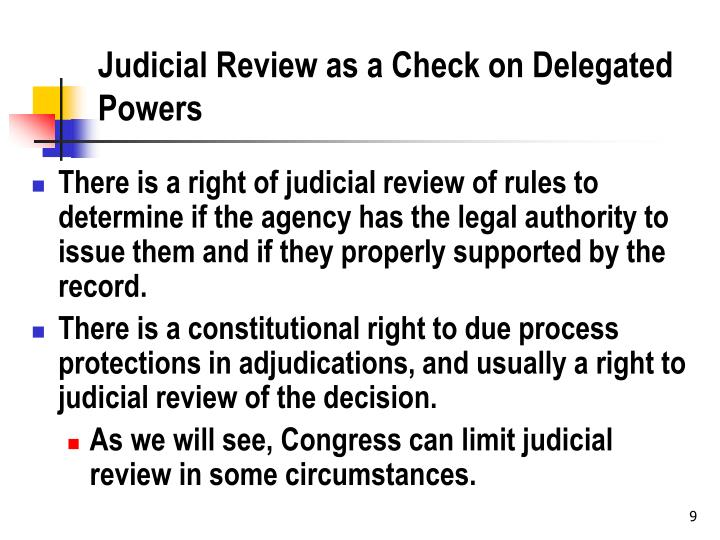 Judicial Review as a Check on Delegated Powers