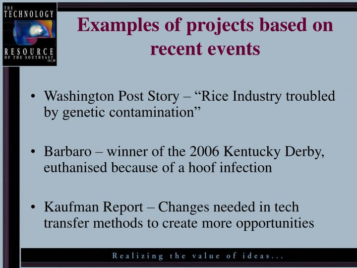 Examples of projects based on recent events