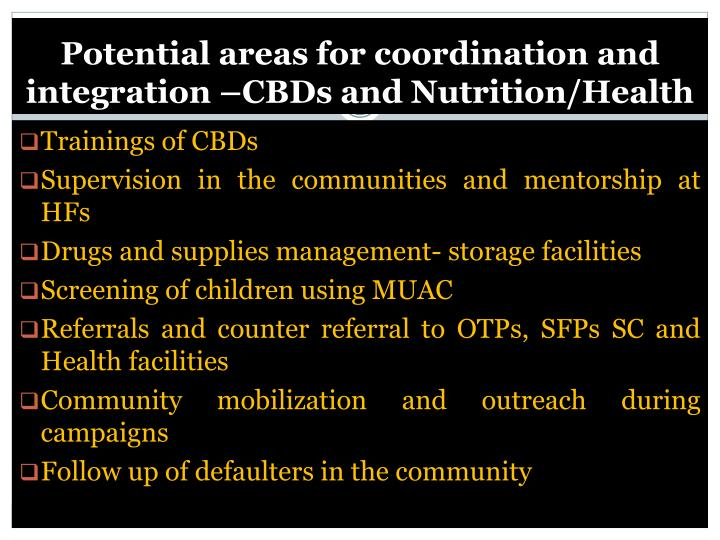 Potential areas for coordination and integration –CBDs and Nutrition/Health