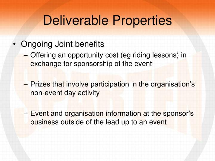 Deliverable Properties