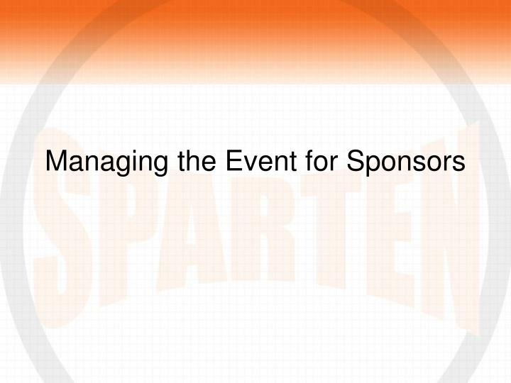 Managing the Event for Sponsors