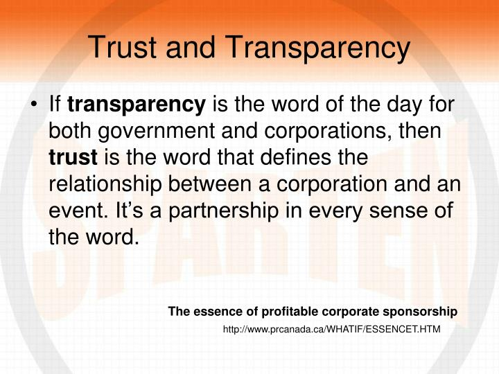 Trust and Transparency
