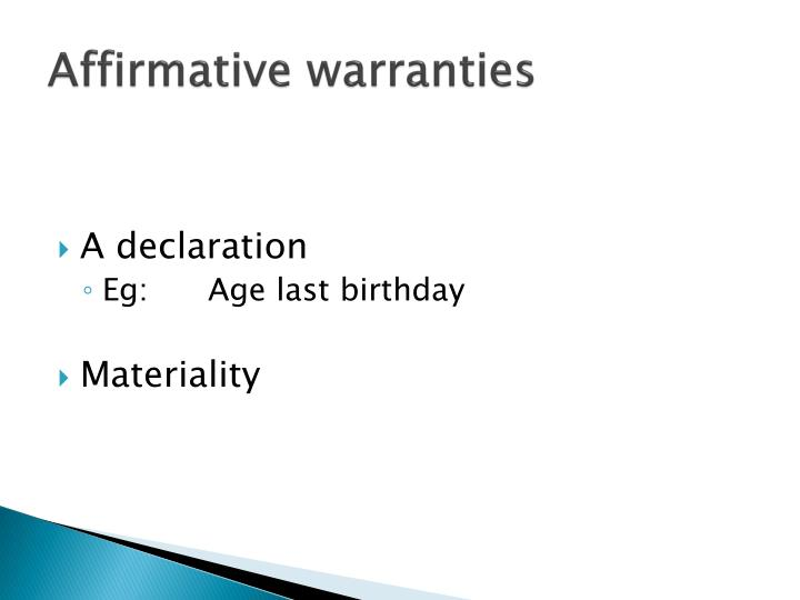 Affirmative warranties