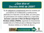 que dice el decreto 0440 de 2009