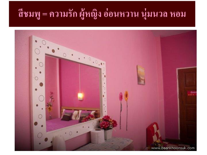 สีชมพู = ความรัก ผู้หญิง อ่อนหวาน นุ่มนวล หอม