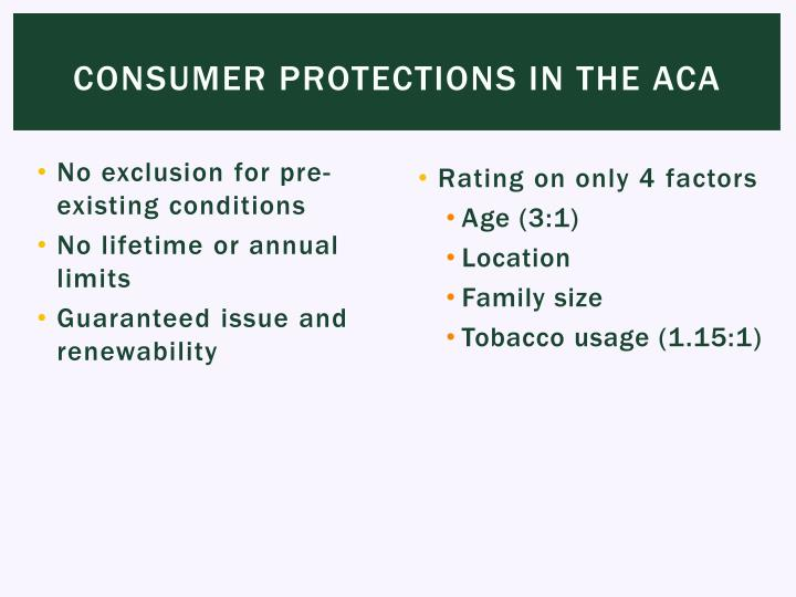 Consumer Protections in the ACA