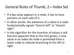 general rules of thumb 2 index set