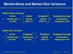 market share and market size variances