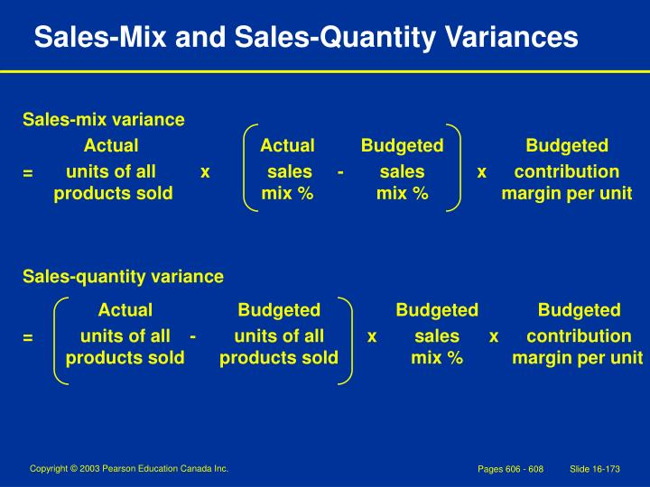 Sales-Mix and Sales-Quantity Variances