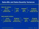 sales mix and sales quantity variances
