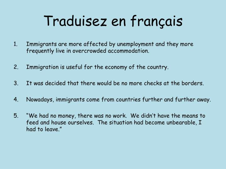 Traduisez en français
