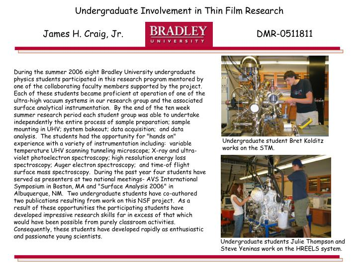 Undergraduate Involvement in Thin Film Research