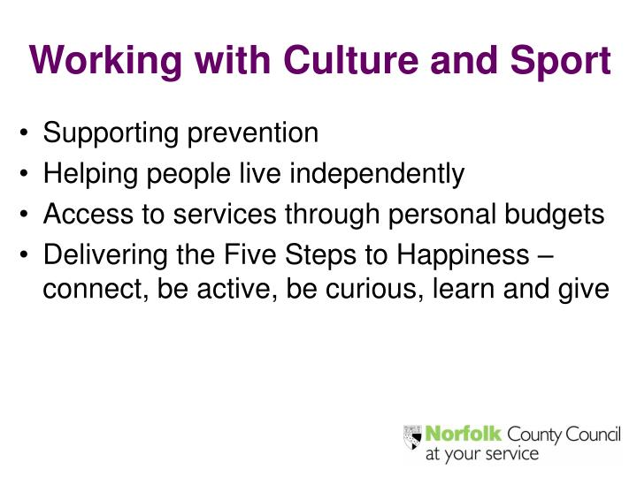 Working with Culture and Sport