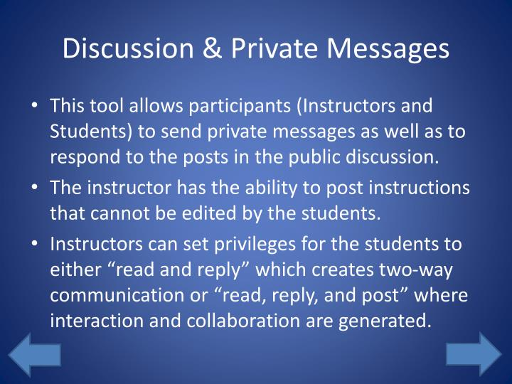 Discussion & Private Messages