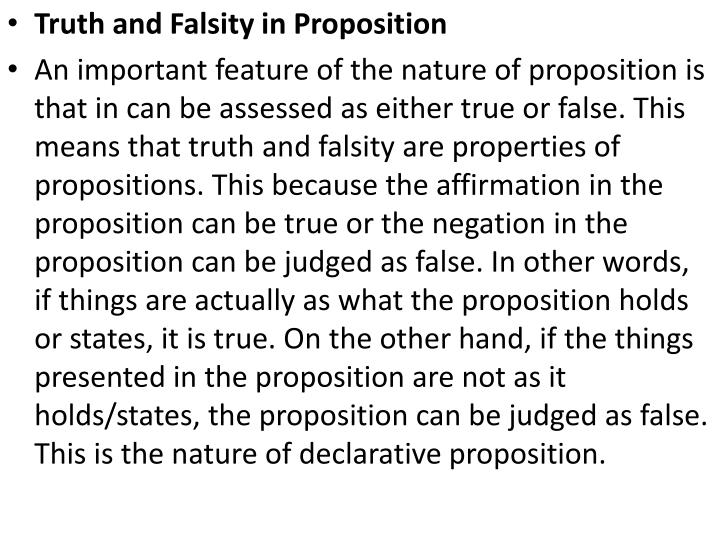 Truth and Falsity in Proposition