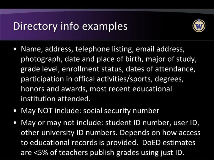 Directory info examples