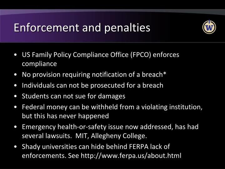 Enforcement and penalties
