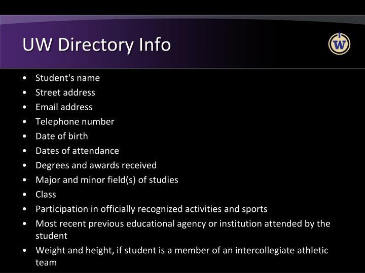 UW Directory Info