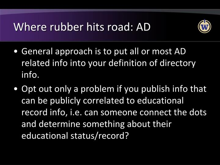 Where rubber hits road: AD