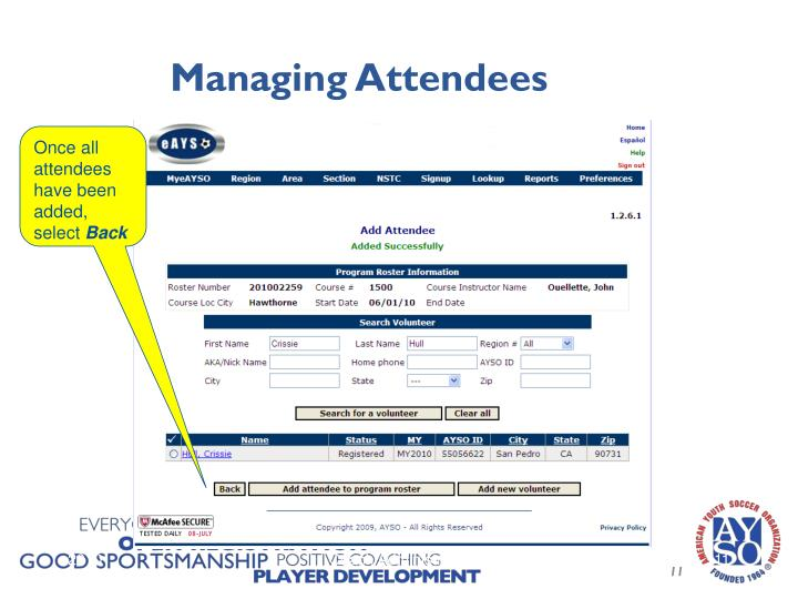 Managing Attendees