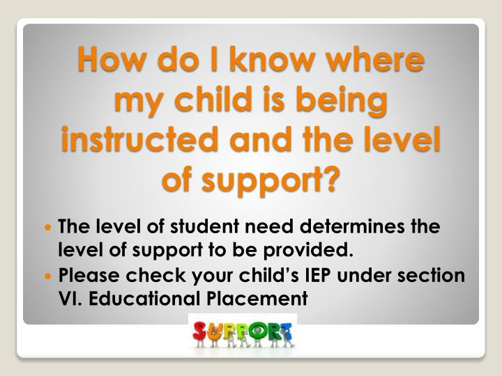 The level of student need determines the level of support to be provided