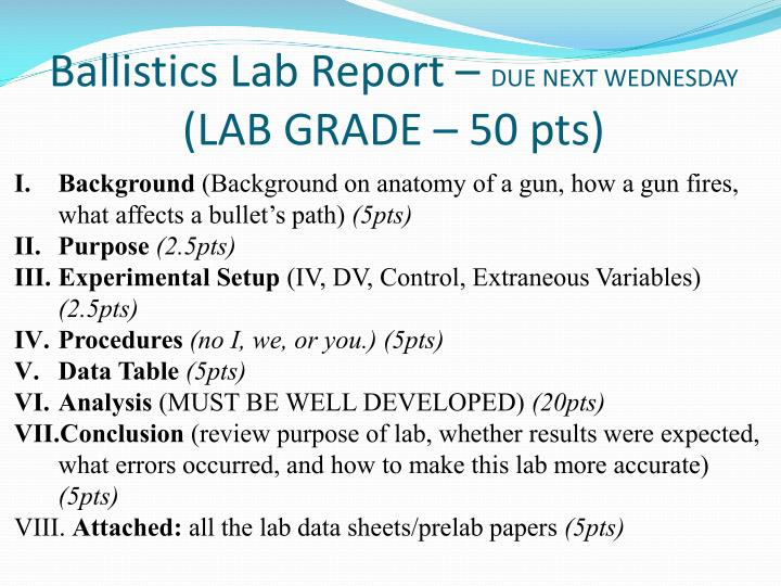 Ballistics Lab Report –