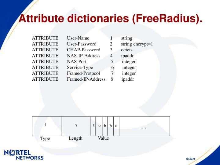 Attribute dictionaries (FreeRadius).
