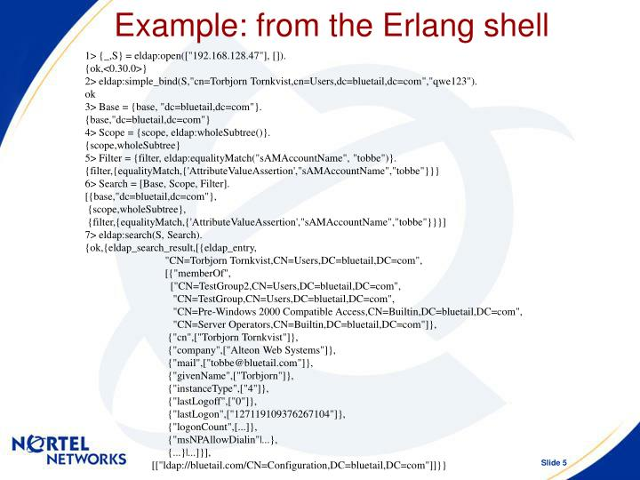 Example: from the Erlang shell