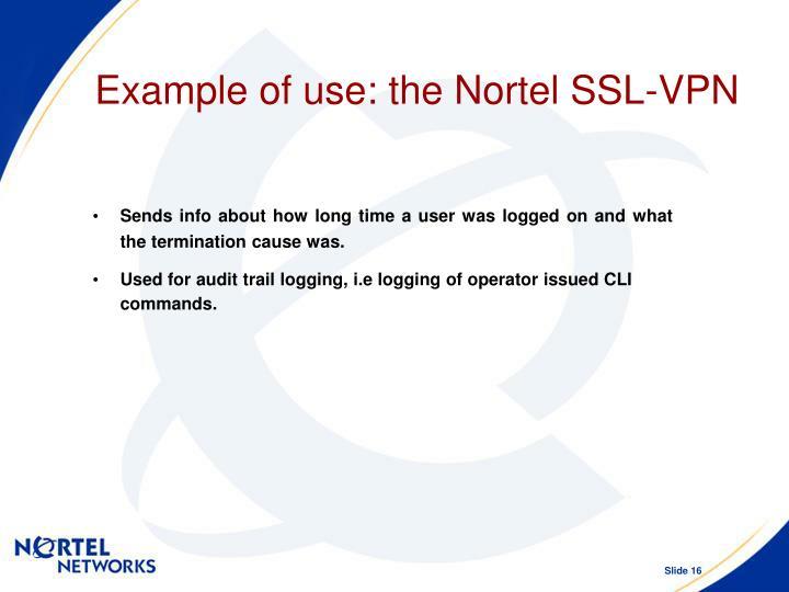 Example of use: the Nortel SSL-VPN