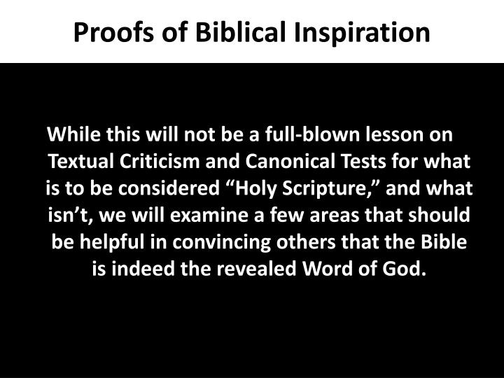 Proofs of biblical inspiration1