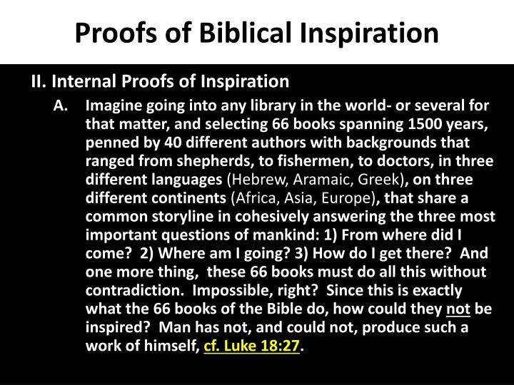 Proofs of Biblical Inspiration
