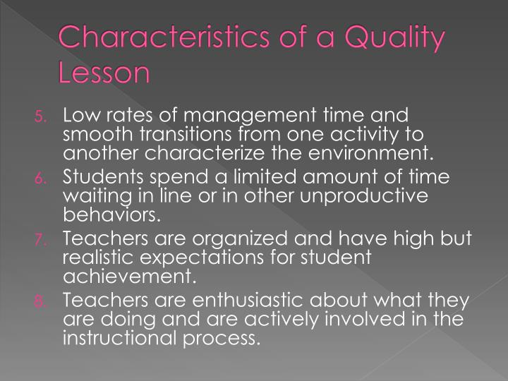 Characteristics of a Quality Lesson
