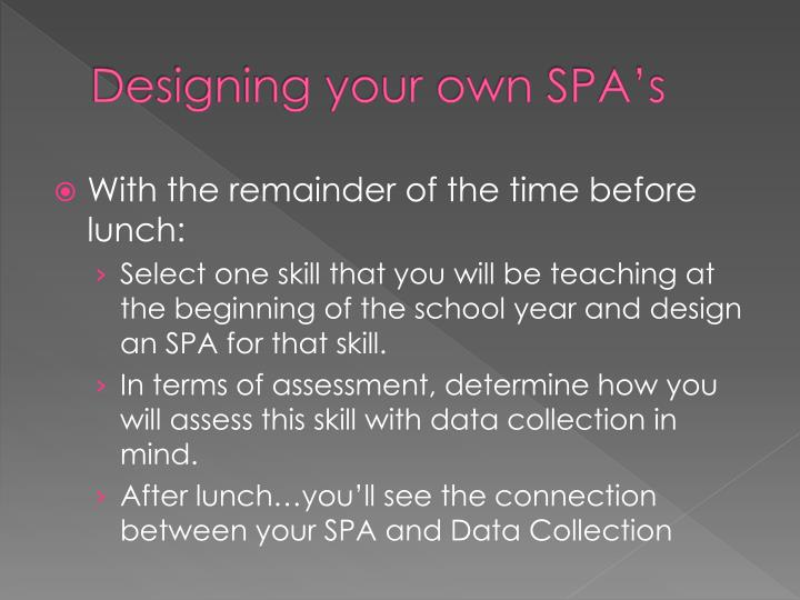 Designing your own SPA's