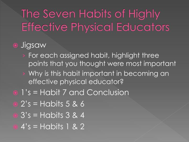 The Seven Habits of Highly Effective Physical Educators